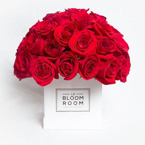 Caja blanca de rosas