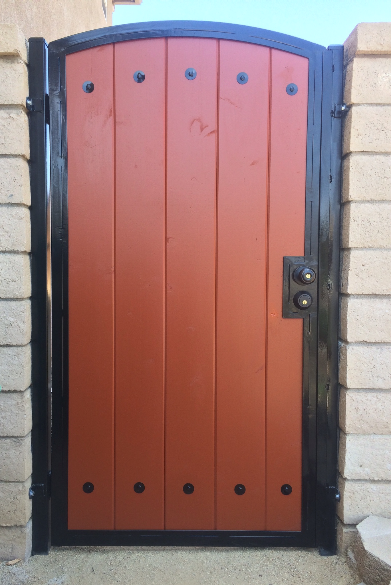Single Wood Gate with Metal Frame