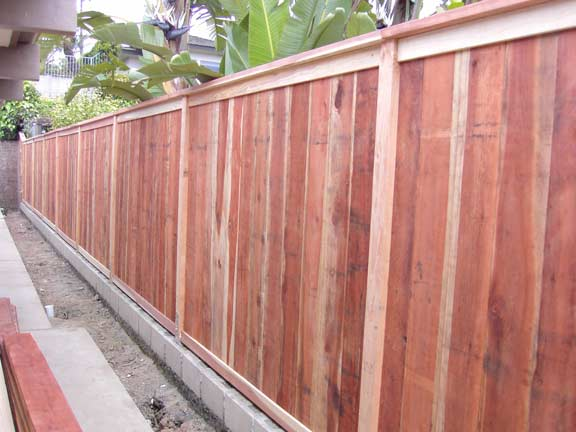 Redwood Fence on top of Block Layer