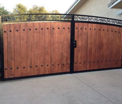 Double Wood Gate with Metal Frame