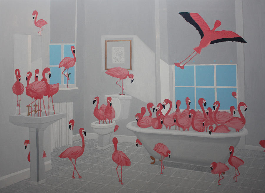 """Flamingos In The Bathroom"" by Lisa Ng"