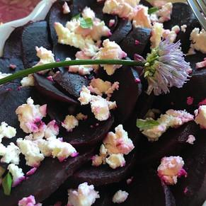 Organic beets, feta and fresh chive blos
