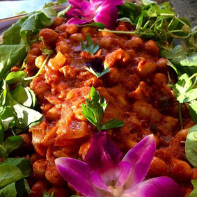Our vegan spicy chickpea tomato dish...l