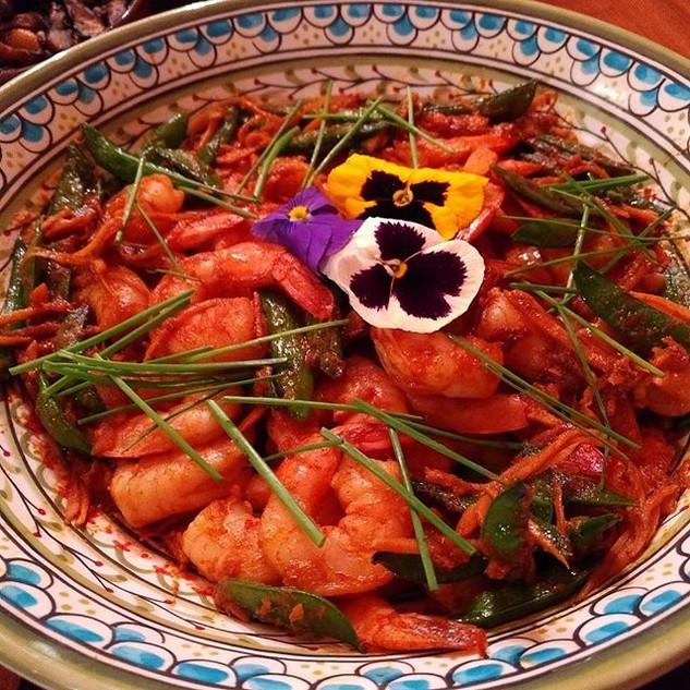 Super tender Asian chili fresh shrimp wi