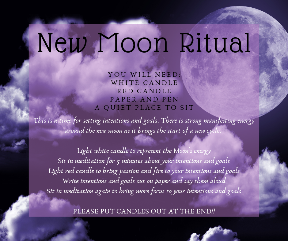 A small ritual for the new moon. You will need: white candle, red candle, paper and pen, and a quiet place to sit. Light the white candle to represent the Moon's Energy. Sit in meditation about your intentions. Light the red candle to bring passion and fire to your intentions. Write intentions and goals out on paper and say them out loud. Sit in meditation again to bring more focus to your intentions and goals.