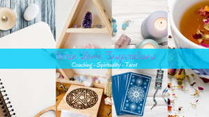 """Four picture in the background of a journal, some crystals, tarot cards with candles and crystals around them, and a cup of tea with herbs around it . There is also a banner going across these four pictures that says """"Karen Lowe Inspirations: Coaching - Spirituality - Tarot!"""""""