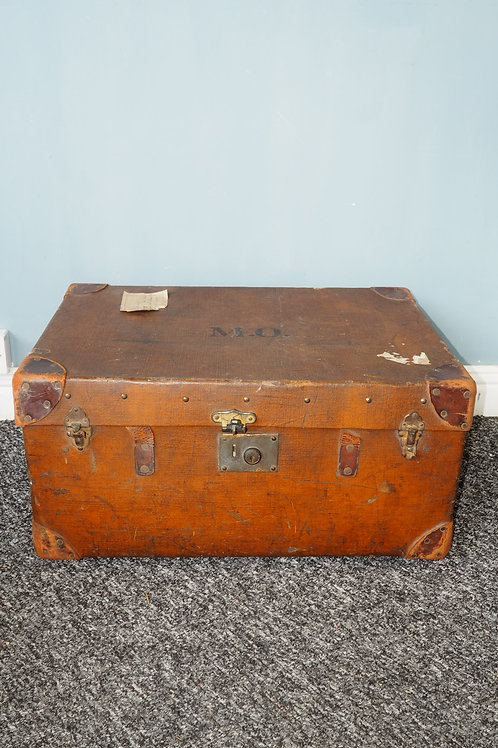 Vintage Travel Trunk with Leather Detail