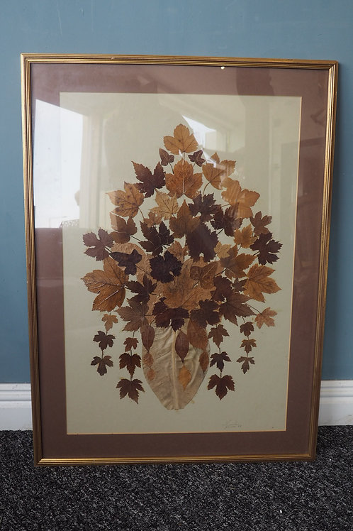 C.1980s French Signed Pressed Leaf Picture