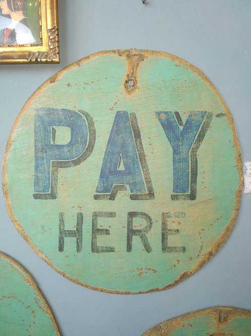 Hand Painted Wooden Fairground Advertising Sign