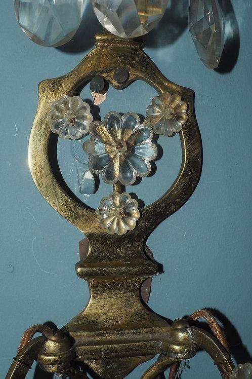Ornate Floral Brass Wall Sconce Light