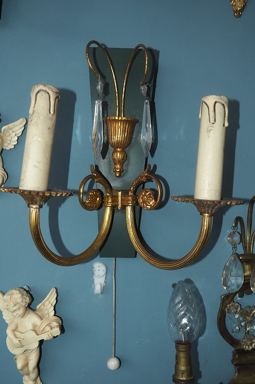 Pair of French Ornate Gold Wall Sconce Lights