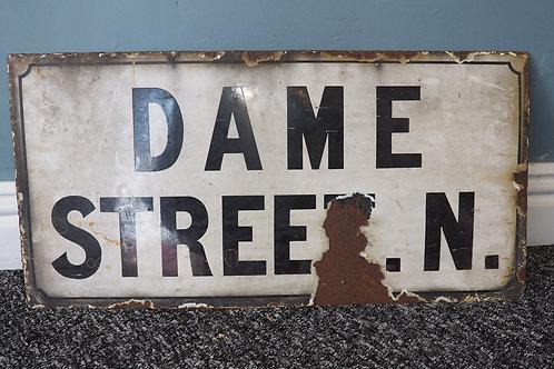 Original Enamel Dame Street London Sign