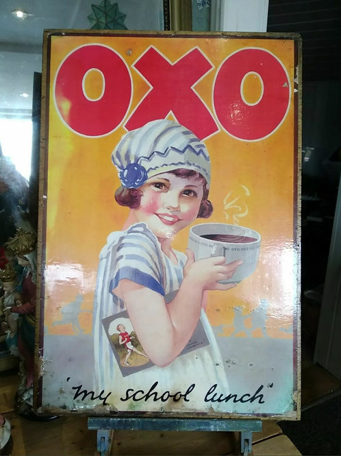Original Oxo Advertising Poster On Wooden Board