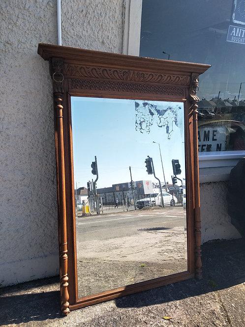 C.1900s Large Carved Oak Framed Overmantle Mirror