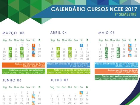 Confira o calendário de cursos para o primeiro semestre de 2017