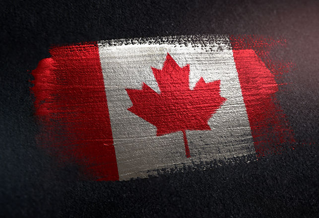 Canada Flag Made of Metallic Brush Paint