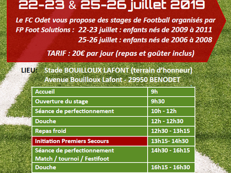 Les stages FP Foot Solutions au FC Odet en Juillet