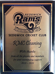 RMC Cleaning Appreciation Plaque 2019-20