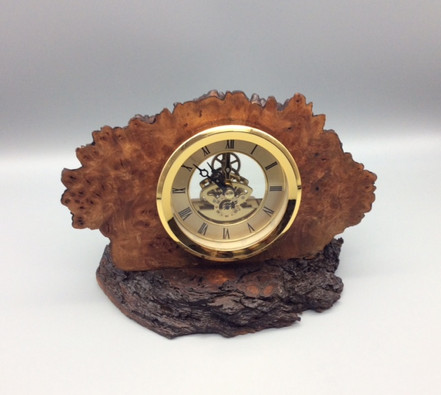 Skeleton Mantle Clock Wood: Burr Elm Size: 9 X 7 Price: £65 (ref.5346)