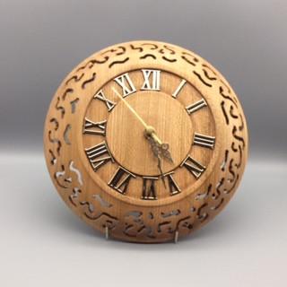 Wall Clock Wood: Elm (pierced) Size: 10 X 2 Price: £75 (ref.5332)