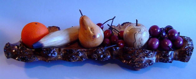 Carved bowl with fruit