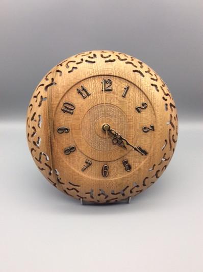 Wall Clock Wood: Elm (pierced) Size: 10 X 2 Price: £75 (ref.5336)