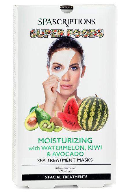 Spascriptions Superfoods Watermelon, Kiwi & Avocado Spa Treatment Masks (5 Ct)