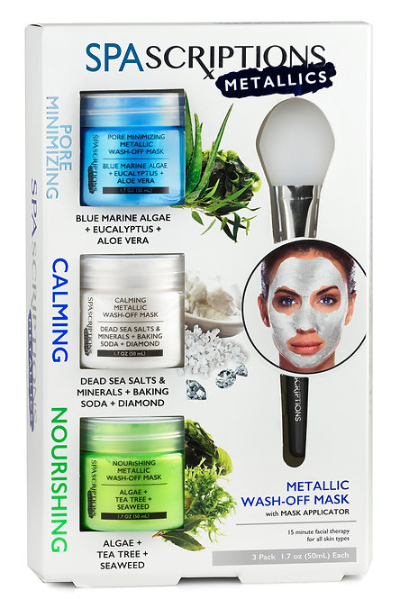 Spascriptions Pore Refining Calming Nourishing Metallic Wash-Off Masks (1.7 Oz)