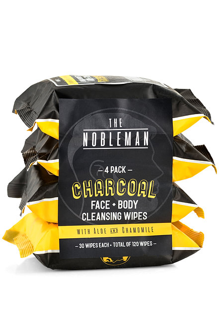 The Nobleman Charcoal Face + Body Cleansing Wipes (120 Ct)
