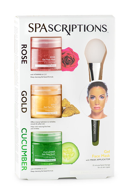 Spascriptions Rose, Gold, & Cucumber Gel Masks (1.7 Oz)