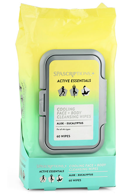 Spascriptions Active Essentials Cooling Face & Body Cleansing Wipes (60 Ct)