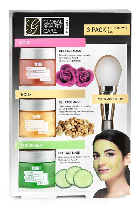 Global Beauty Care Premium Rose Gold Cucumber Gel Masks w/Applicator (1.7Oz x3)