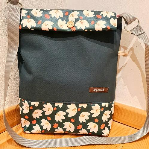 Shopper Blume mit Lasche dunkelgrün
