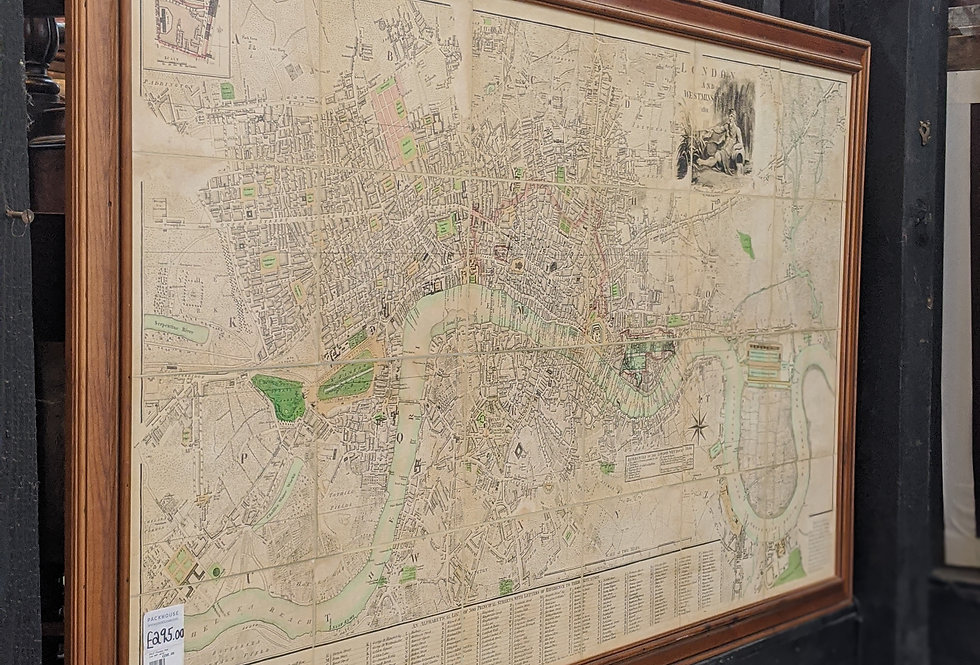 Large Map of  Thames in Wooden Frame