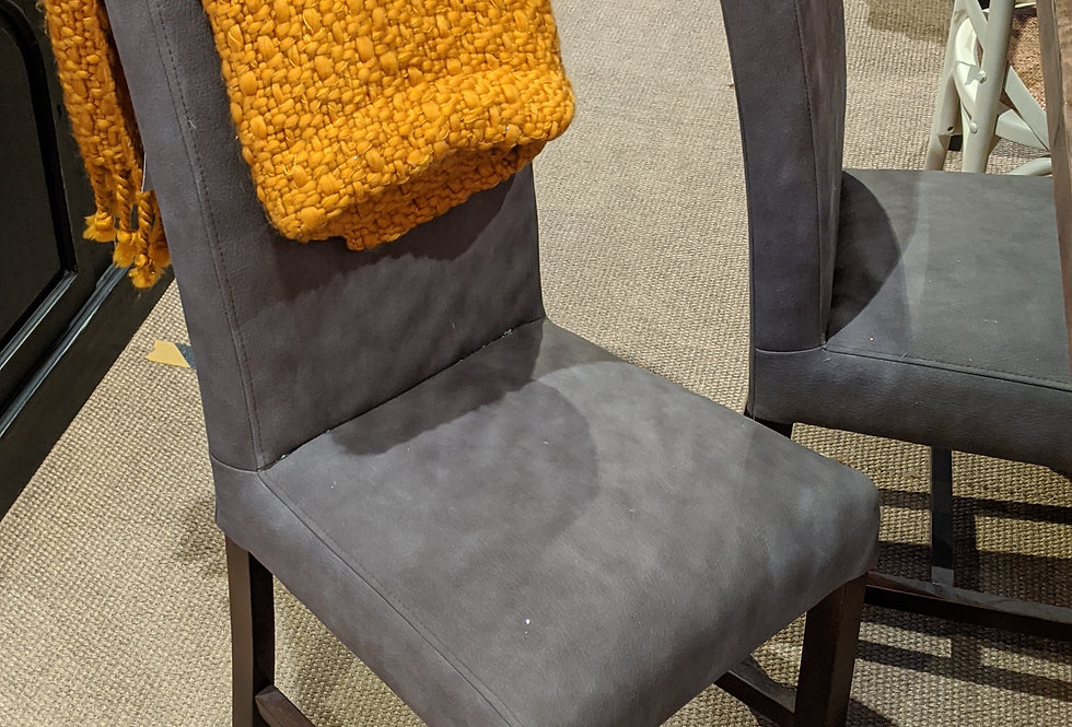 Grey Fabric Chair with Dark Wood Legs