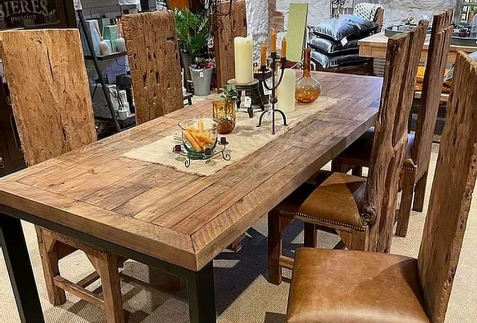 Extending Oak and Metal Dining Table- Straight leg