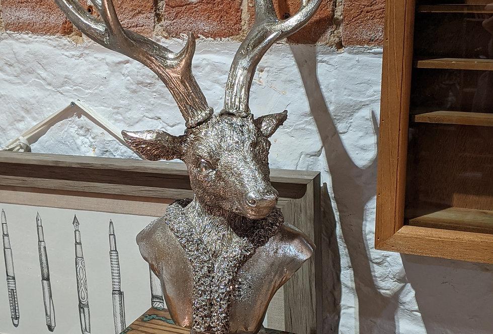 Silver Glitter Deer Bust