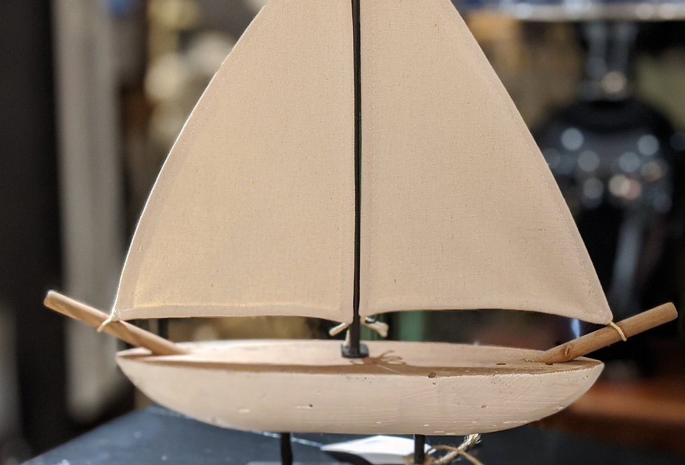 White Sail Boat Small
