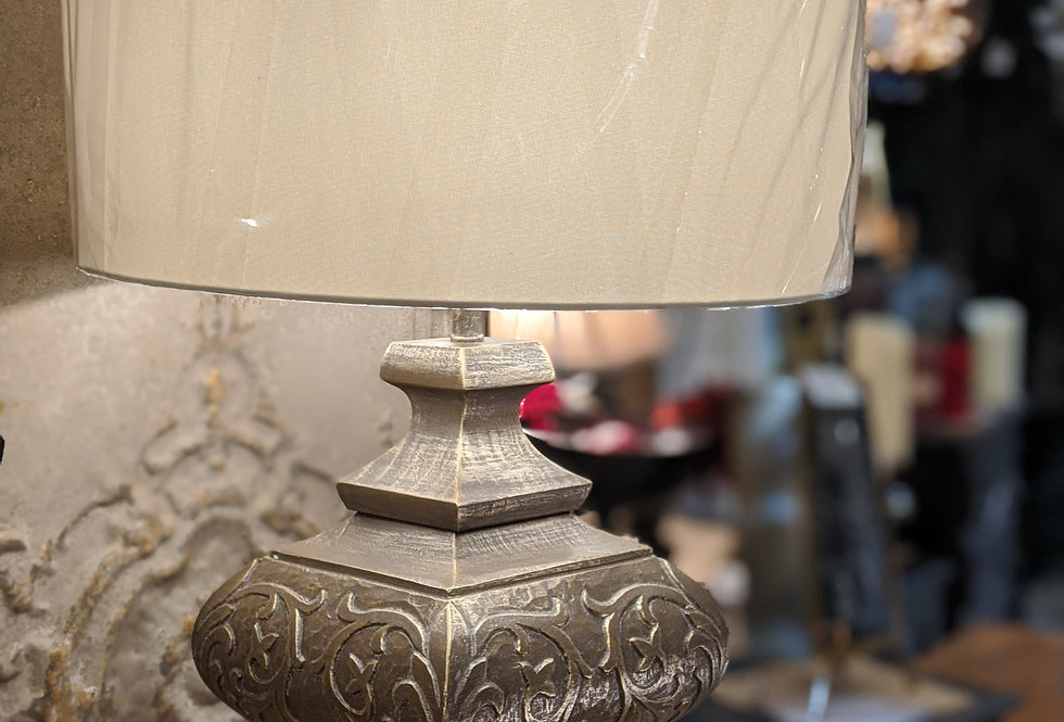 Gold Effect Carved Lamp and Shade