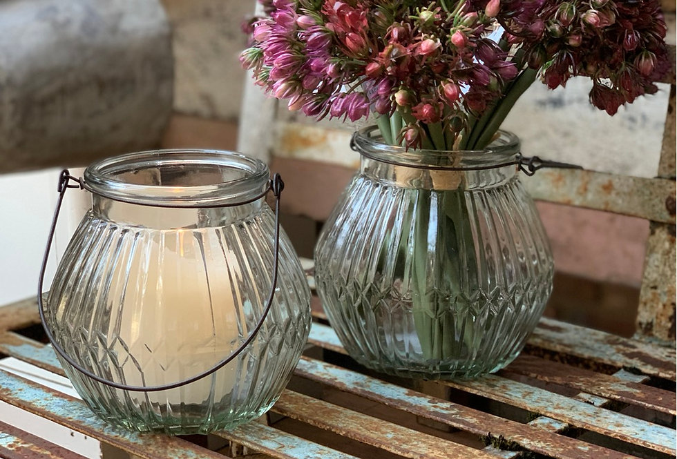 Glass Lantern With Wire Handle