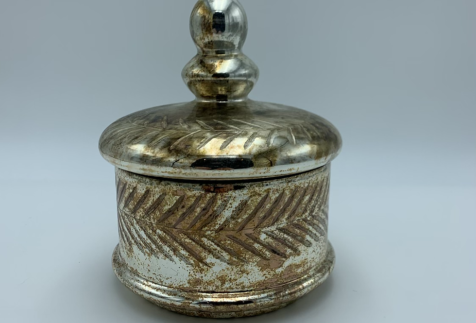 Burnished Deco Trinket Jar With Lid (Medium)