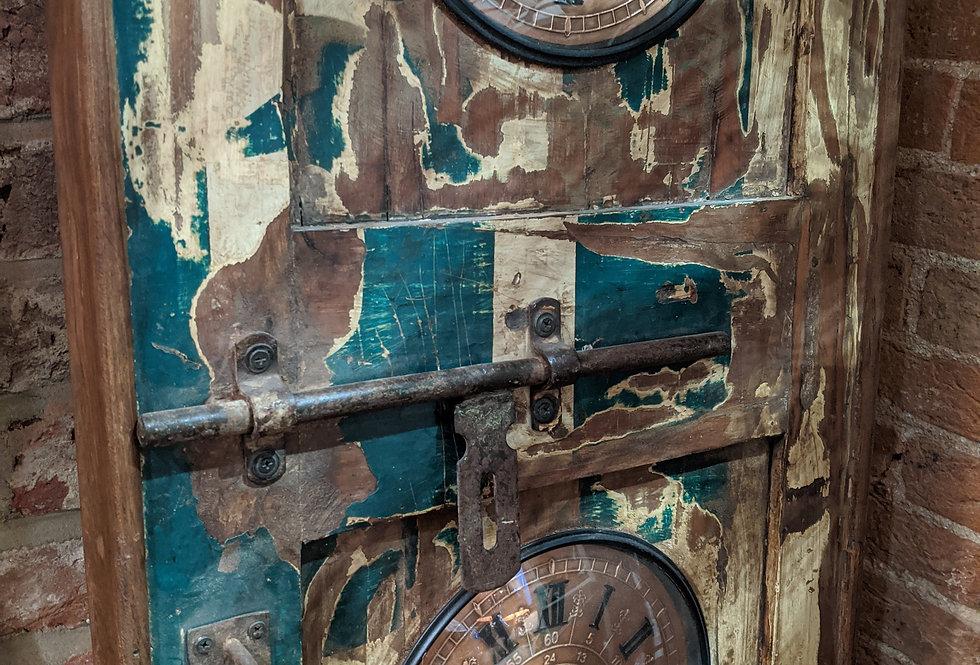 Wood Door with World Times Clocks