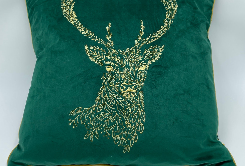 Forest Green Stag Cushion