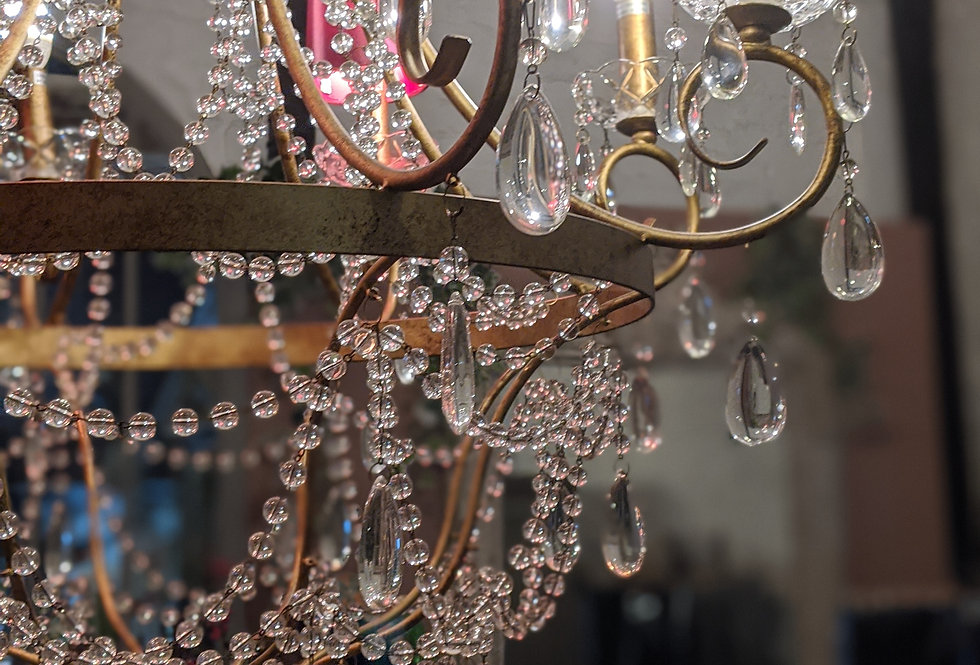 Large Glass Droplet Chandelier