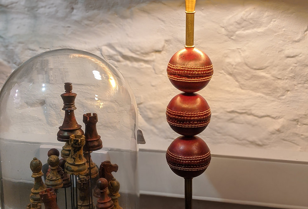 Cricket Ball Table Lamp with Black Shade