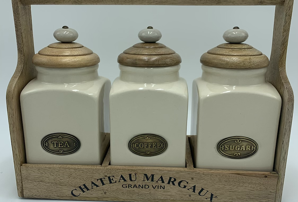 Set Of 3 Jars With Carrier