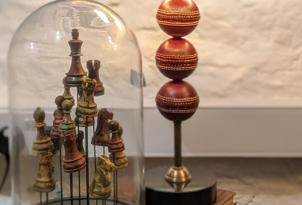 Chess in Glass Cloche