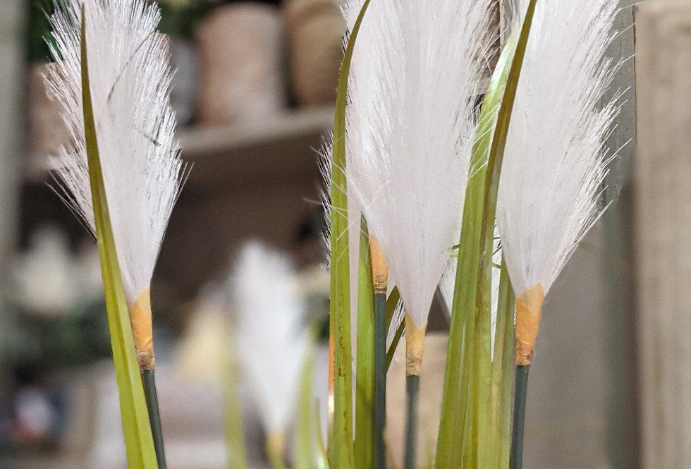 White Grass in Silver Pot