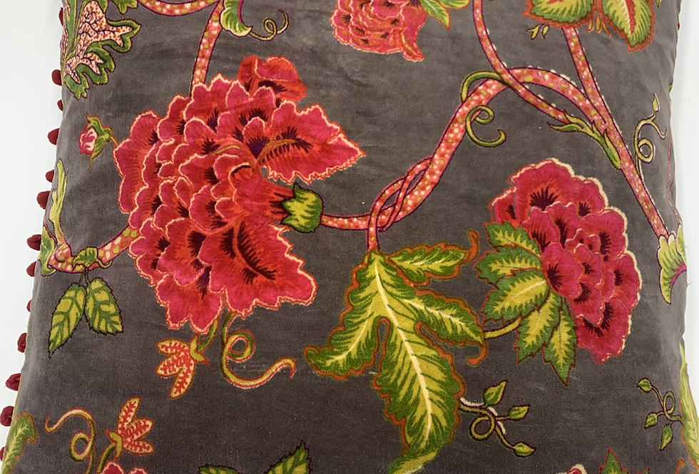 Charcoal Floral Cushion