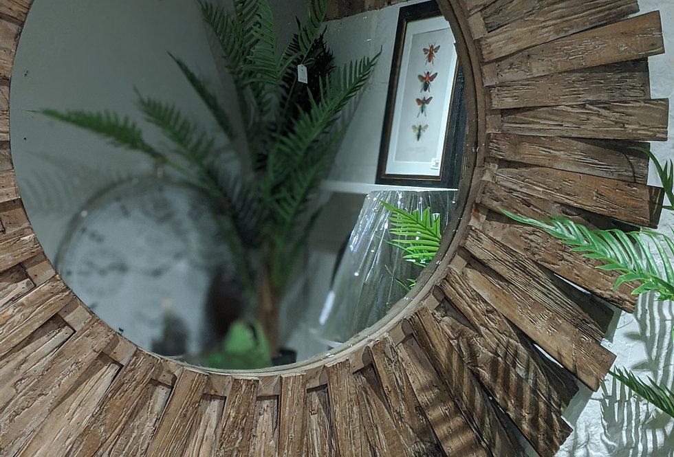Fir Wood Round Mirror